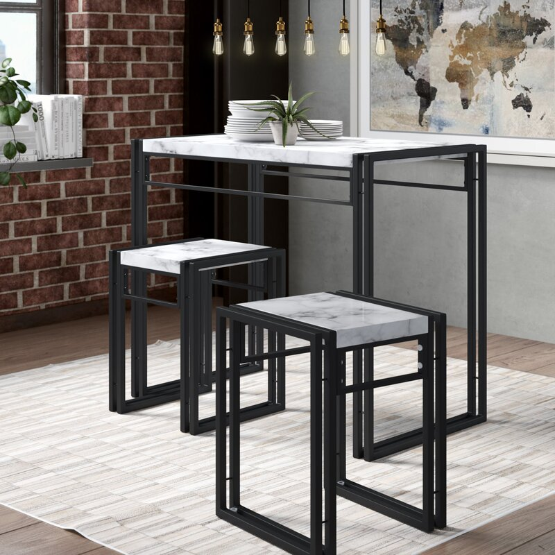 Williston Forge Debby Small Space 3 Piece Dining Set