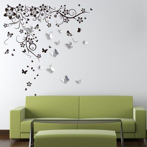 New Huge Butterfly Vine and 3D Mirror Butterflies Wall Decal  sc 1 st  Wayfair & Walplus New Huge Butterfly Vine and 3D Mirror Butterflies Wall Decal ...