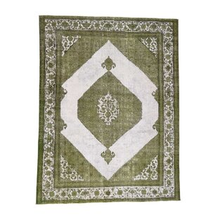 One-of-a-Kind Hare Overdyed Medallion Vintage Hand-Knotted 10' x 12'9 Wool Green/White Area Rug Isabelline