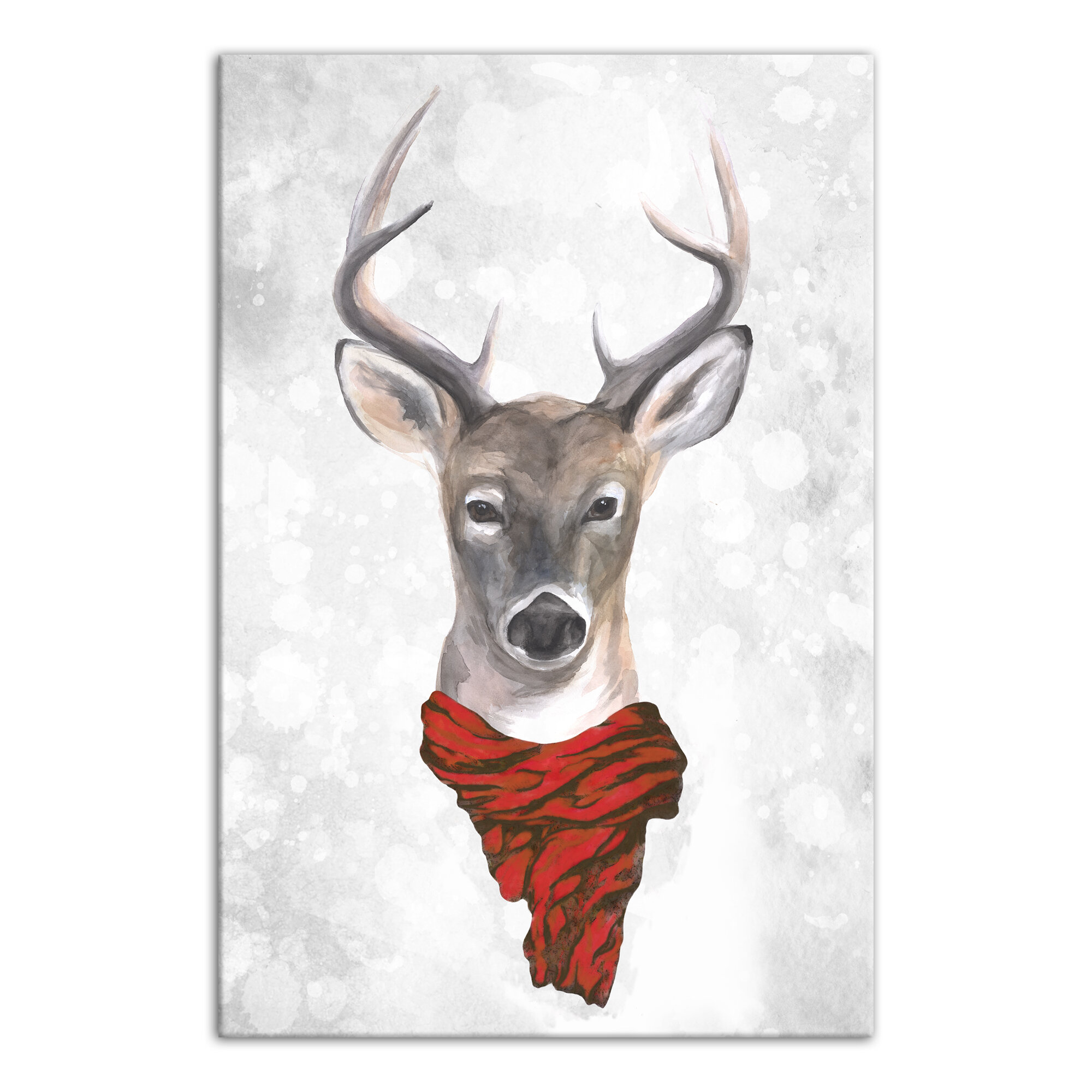 The Holiday Aisle Reindeer Wearing Red Scarf Graphic Art Print