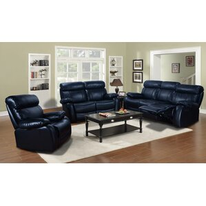 Red Barrel Studio Market Garden 3 Piece Leather Living Room Set