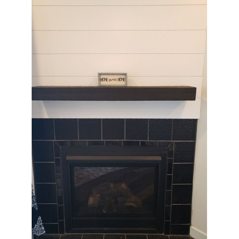 Millwood Pines Juna Rustic Floating Wood Fireplace Mantel Shelf