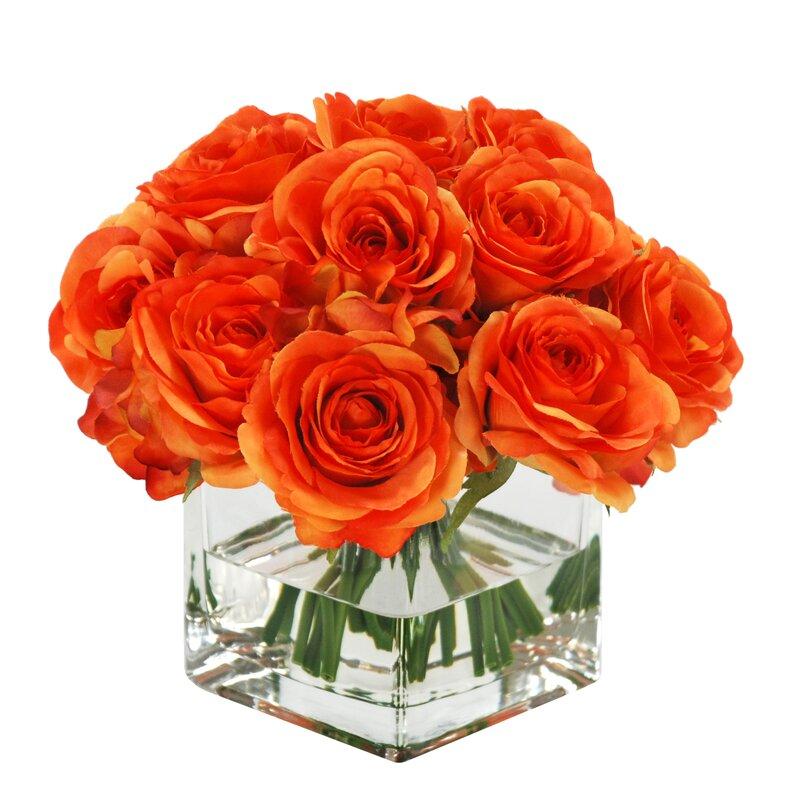 rose bouquet in square vase floral arrangements - Red Garden Rose Bouquet