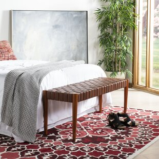 Bungalow Rose Albanese Leather Bench