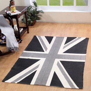 Union Jack Handwoven Cotton Black Grey Area Rug