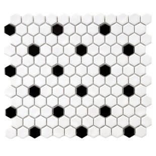 Interior Black And White Mosaic Tile mosaic tile youll love wayfair retro 0 875 x hex porcelain in white with black dots