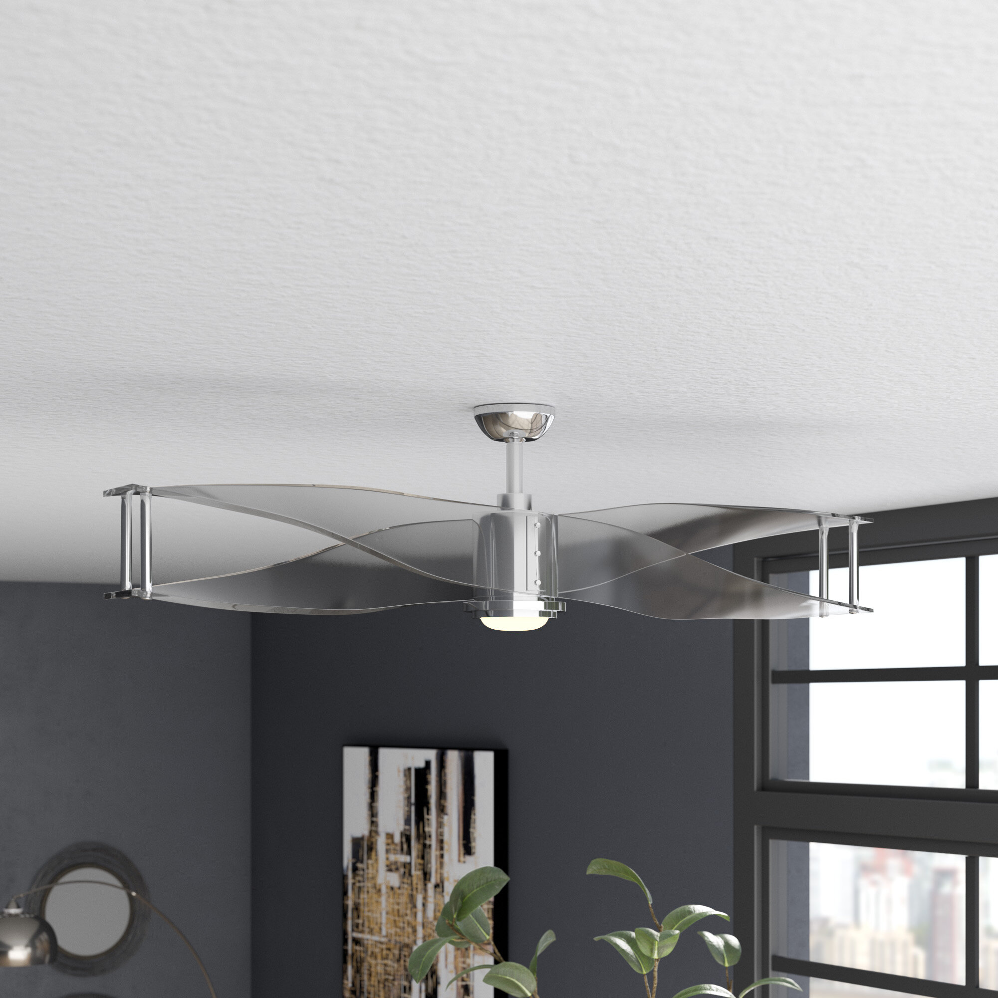 Wade Logan 56 Penbrook 2 Blade Led Flush Mount Ceiling Fan With Remote Control And Light Kit Included Reviews Wayfair