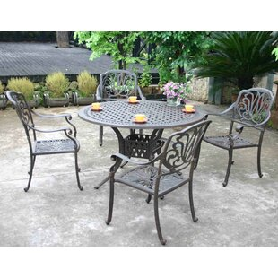Pruden 5 Piece Dining Set with Sunbrella Cushions by Canora Grey