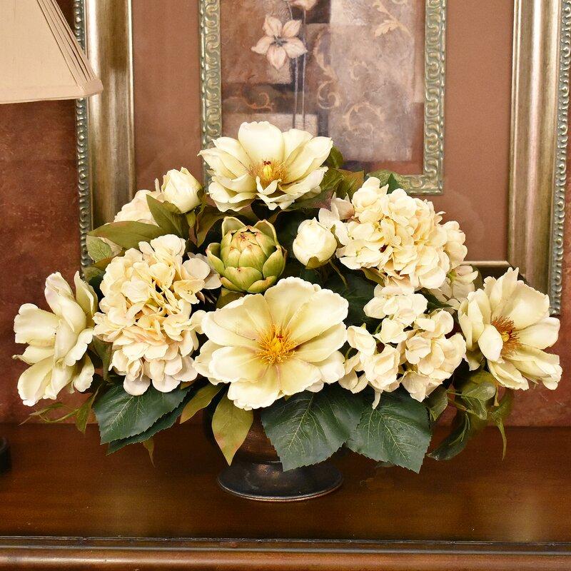 Darby Home Co Magnolia And Hydrangea Centerpiece Reviews Wayfair