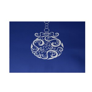 Decorative Holiday Print Royal Blue Indoor/Outdoor Area Rug