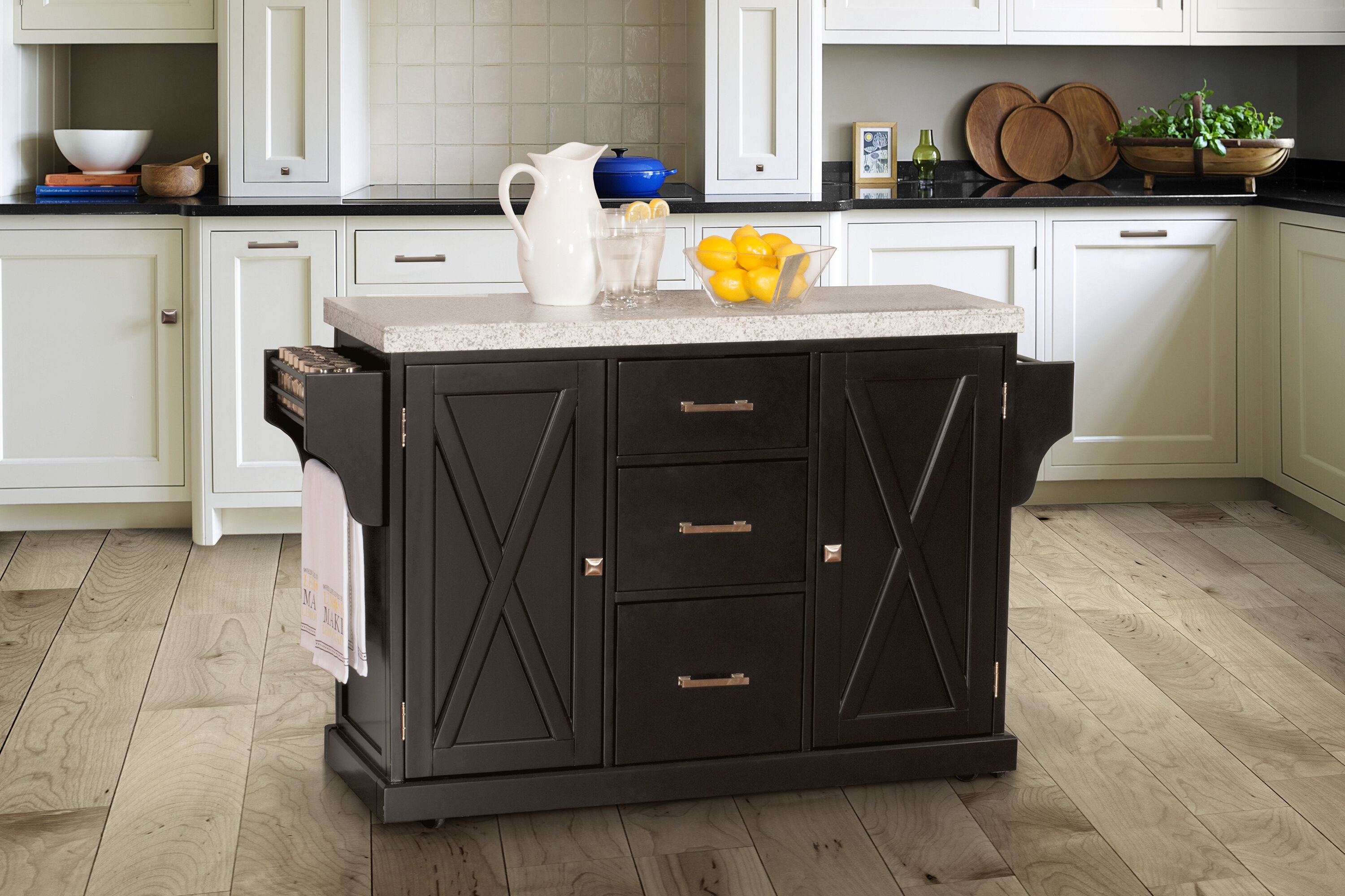 Gracie Oaks Jax Kitchen Island With Granite Top Reviews