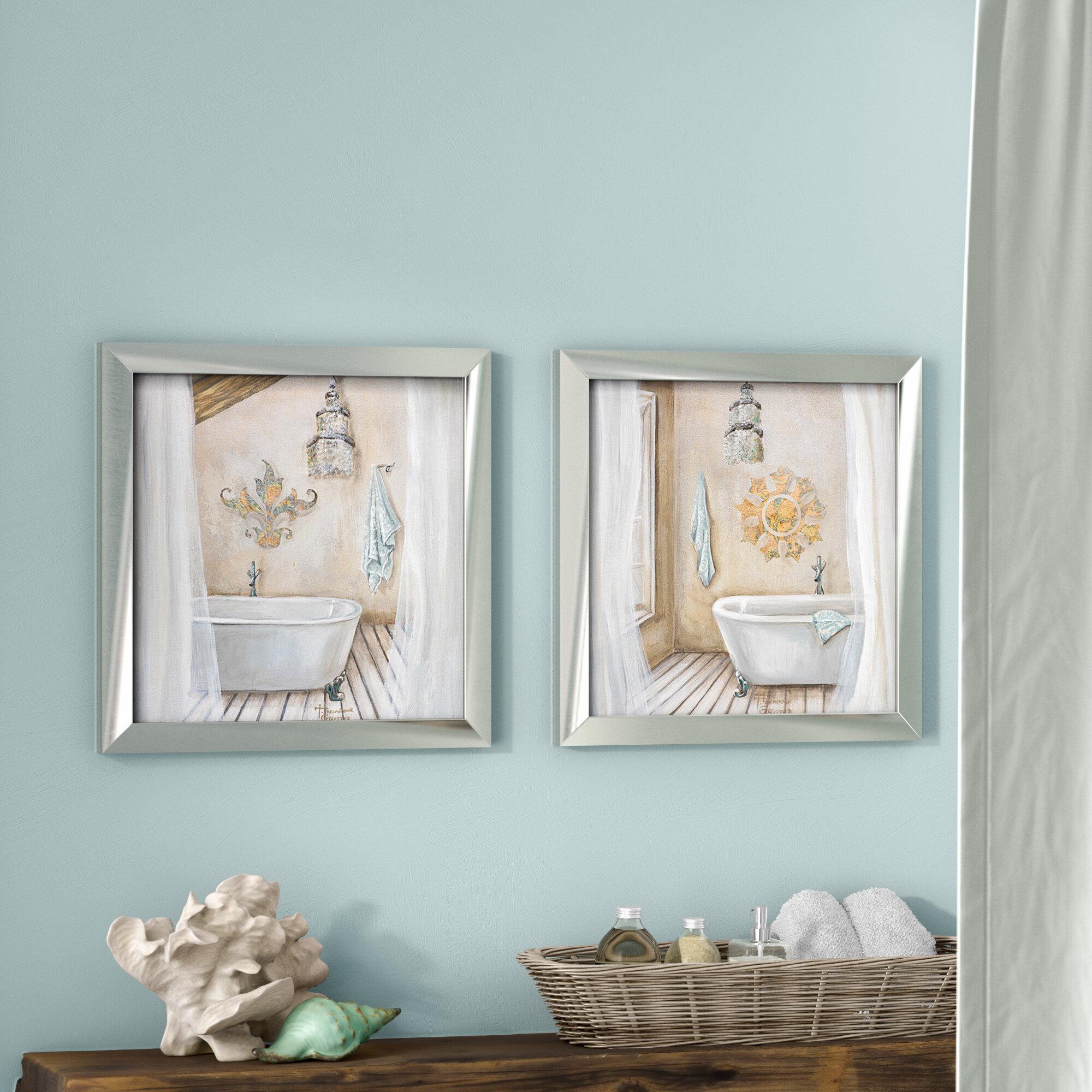 Highland Dunes Crystal Bath\' 2 Piece Framed Acrylic Painting Print ...