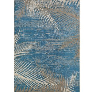 Odilia Tropical Palms Blue/Gray/Beige Indoor/Outdoor Area Rug