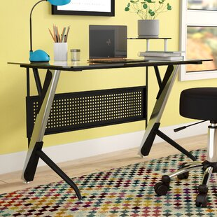 Symple Stuff Tempered Glass Writing Desk