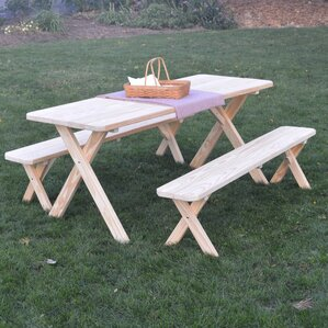 starkey pine crossleg picnic table with 2 benches - Picnic Table Kit