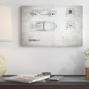 'Mercedes-Benz SSK' Graphic Art Print on Canvas in Vintage Silver By East Urban Home