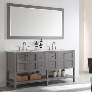 Caldwell 72 Double Bathroom Vanity Set with Mirror by Beachcrest Home