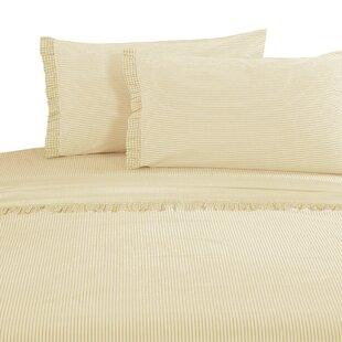 Faircloth Gingham Ruffle 300 Thread Count 100% Cotton Sheet Set