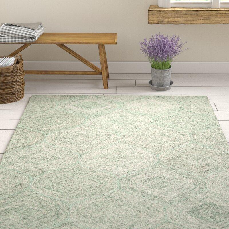 Gracie Oaks Pershing Hand Tufted Wool Green Area Rug Reviews Wayfair