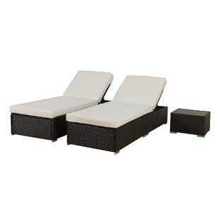 Orren Ellis Degnan Outdoor Rattan Reclining Chaise Lounge with Cushion and Table (Set of 2)