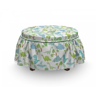 Baby Dinosaurs Cartoon Ottoman Slipcover (Set Of 2) By East Urban Home