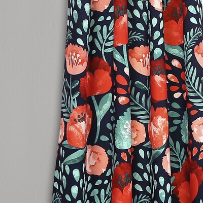 Bungalow Rose Bryonhall Poppy Garden Room Darkening Rod Pocket Curtain Panels Size: 95 W x 52 L, Curtain Color: Navy