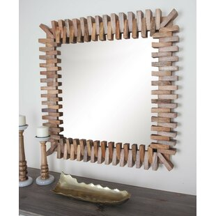 Cole & Grey Wood Square Wall Mirror