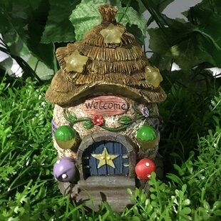 Fairy Garden House with Thatched Roof and Stars - Solar LED Lights Statue by Hi-Line Gift Ltd.