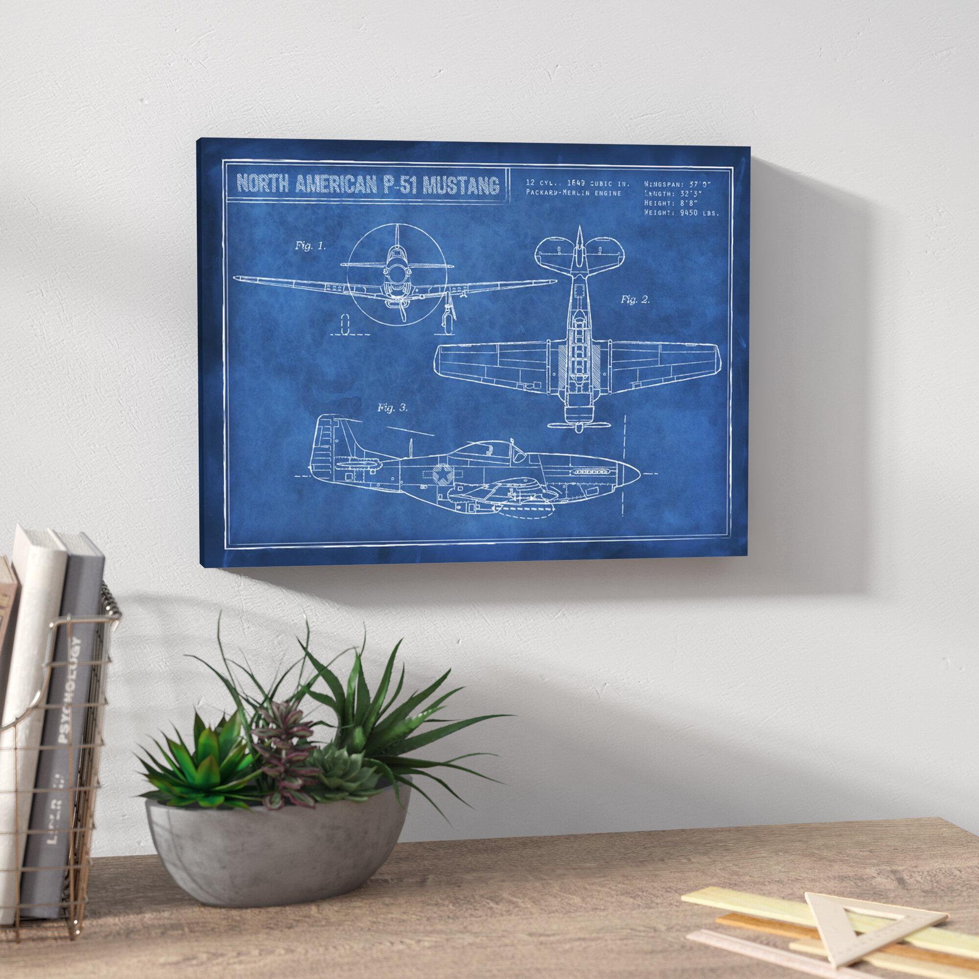 Trent Austin Design \'American P-51 Blueprint\' Framed Graphic Art ...