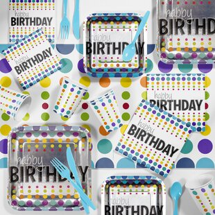 Birthday Pop Party Paper/Plastic Supplies Kit (Set of 81)