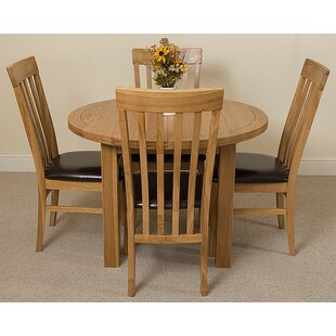 Soejima Solid Oak Dining Set With 4 Harvard Chairs By Rosalind Wheeler