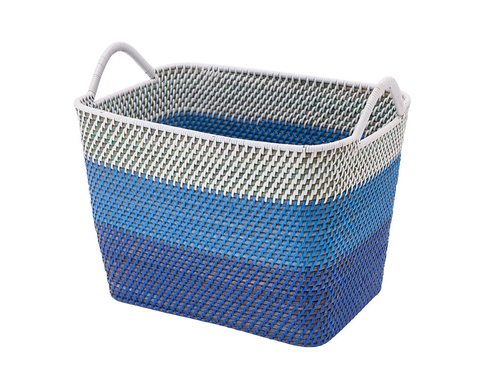 Cresthaven Rectangular Rattan Storage Basket with Ear Handles By Highland Dunes
