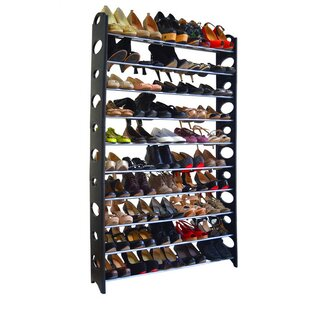 Affordable 10-Tier 50 Pair Stackable Shoe Rack By Rebrilliant