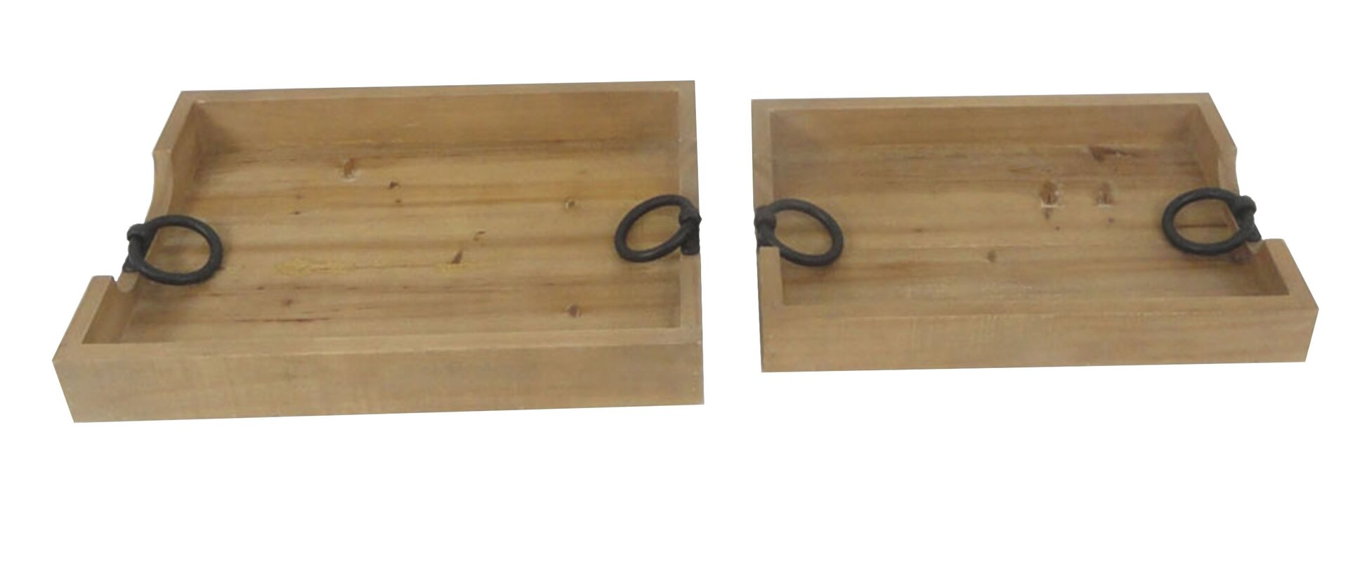 High Quality 2 Piece Wood Serving Tray Set