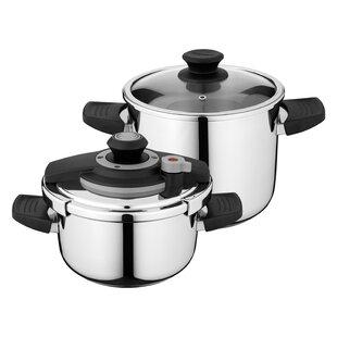 Vita 4.2 and 7.4 Qt Stove Top Pressure Cooker Set