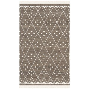Natural Kilim Hand-Woven/Flat-Woven Brown/Ivory Area Rug