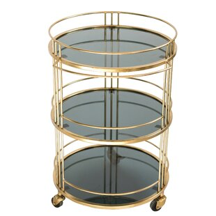 Ferrer Glass Bar Cart with Metal Frame and Caster Wheels by Everly Quinn