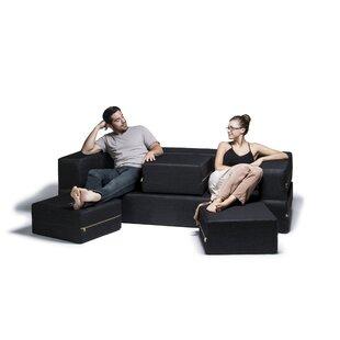 Zipcode Design Eugene Denim Sleeper Sofa and Ottomans