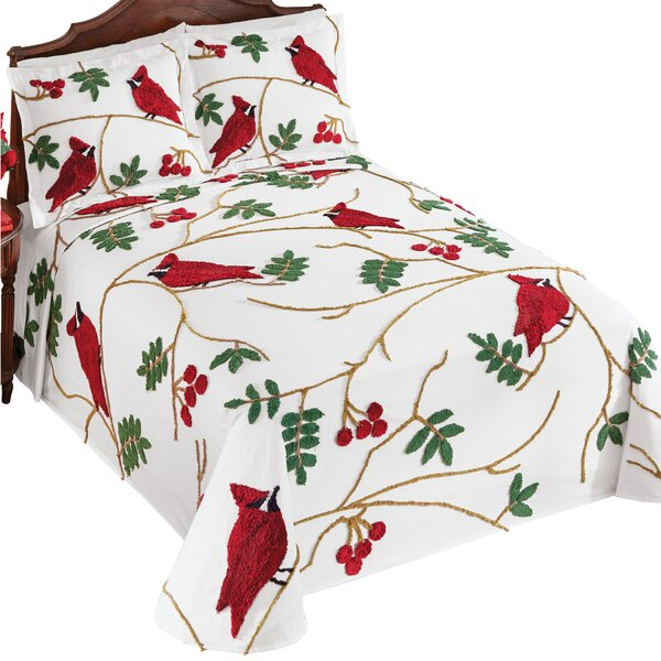 Cardinal and Holly Leaf 3-Tier Ruffled Holiday Bedspread Holiday Bedroom Decor