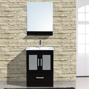 Read Reviews Alva 24 Single Bathroom Vanity with Mirror By Adornus