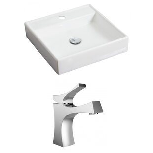 Ceramic 18 Wall Mount Bathroom Sink with Faucet ByAmerican Imaginations