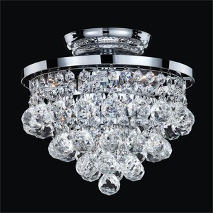 Thorpe 3-Light Crystal Shade Close Up Semi-Flush Mount by Willa Arlo Interiors