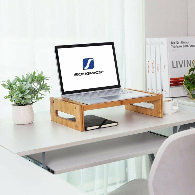 Songmics Bamboo Monitor Stand Desktop Riser Desk Organizer Wayfair Ca