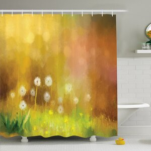 Watercolor Flower Home Dandelion Wild Nature Pastel Grass Spring Floral Art Theme Shower Curtain Set Ambesonne