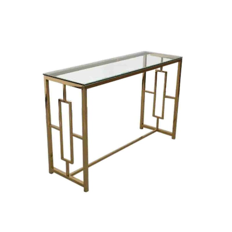 Charmant Stainless Steel And Glass Console Table