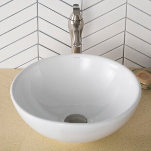 Elavo Ceramic Round Vessel Bathroom Sink with Overflow Kraus