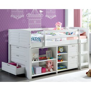 Chichaoua Twin Low Loft Bed with 5 Drawers and Shelves
