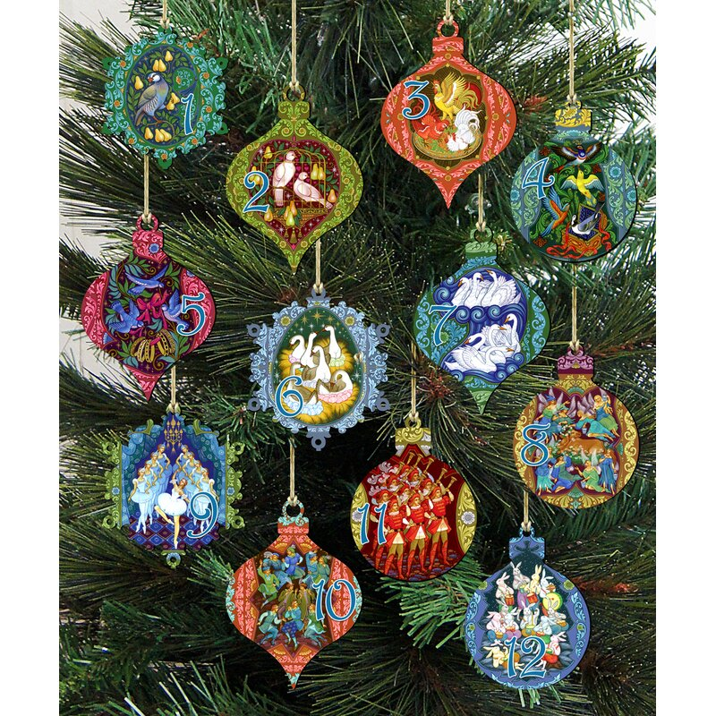 The Holiday Aisle 12 Piece Days Of Christmas Hanging Figurine Ornament Set Reviews Wayfair