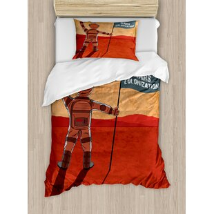 Outer Space Colonization of Mars with Cosmonaut on Planet with a Flag Discovery Image Duvet Set by Ambesonne