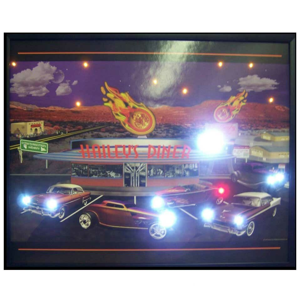 Neonetics Retro Haileys Diner Led Lighted Framed Vintage Advertisement Wayfair
